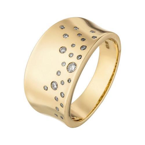 JOBO Diamantring, breit 585 Gold mit 25 Diamanten