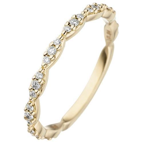 JOBO Diamantring, 585 Gold mit 27 Diamanten