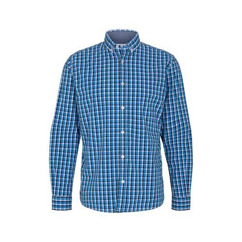 TOM TAILOR Herren Karo Stretch Hemd, blau, Gr.S
