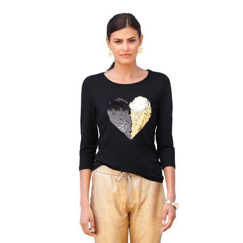 Amy Vermont Paillettenshirt, mit Paillettenmotiv schwarz Damen Jersey Shirts Sweatshirts Paillettenshirt