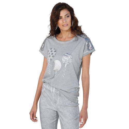 Amy Vermont Paillettenshirt, mit Pailletten grau Damen Jersey Shirts Sweatshirts Paillettenshirt