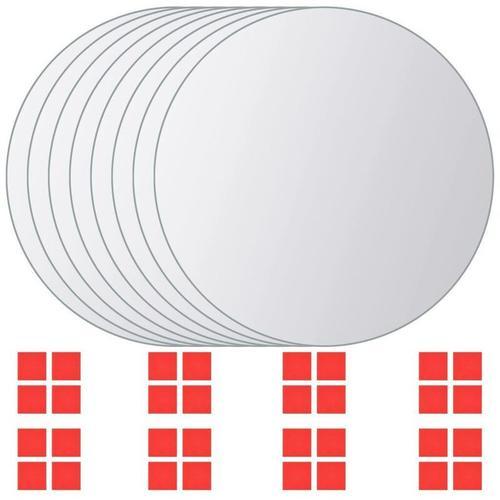 8-tlg. Spiegelfliesen-Set Rund Glas 10566 - Topdeal