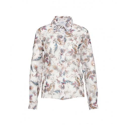 Liu Jo Damen Bluse mit floralem Print Weiß