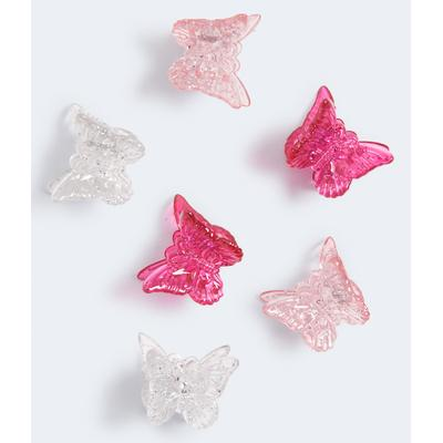 Aeropostale Girls' Mini Butterfly Hair Clip 6-Pack - Multi-colored - Size One Size - Cotton