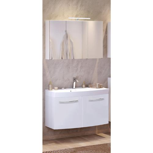 Waschtisch & Spiegelschrank Set FLORIDO-03 Hochglanz weiß, 100cm Waschtisch mit Auszügen oder 2