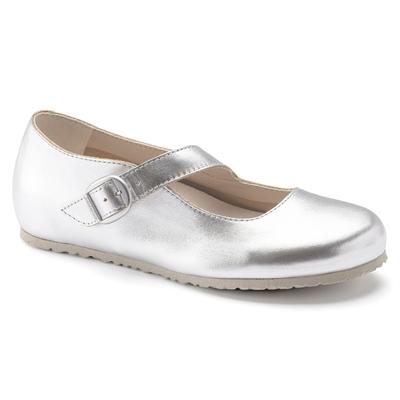 BIRKENSTOCK Tracy Natural Leather Silver Mary-Jane Shoes