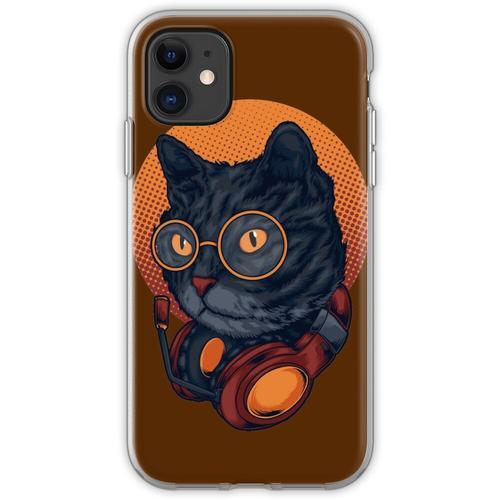 Black Cat Music DJ Headset mit Brille Flexible Hülle für iPhone 11