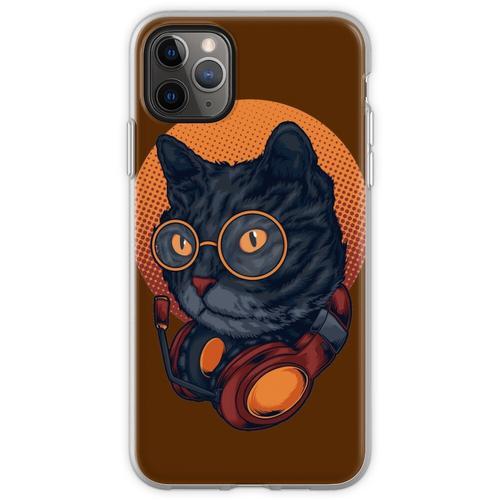 Black Cat Music DJ Headset mit Brille Flexible Hülle für iPhone 11 Pro Max