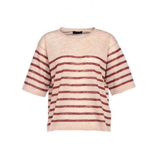 Roberto Collina Damen Shirt mit Streifen Rosa