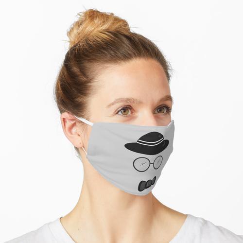 Hut mit runder Brille und Fliege Maske