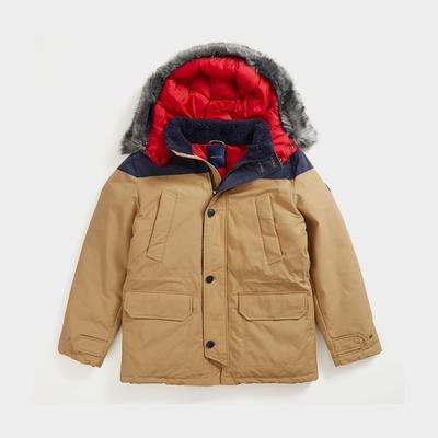 Nautica Men's Sustainably Crafted Tempasphere Coloblock Parka Dark Brown, S