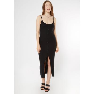 Rue21 Womens Black Faux Button Front Slit Midi Dress - Size Xl