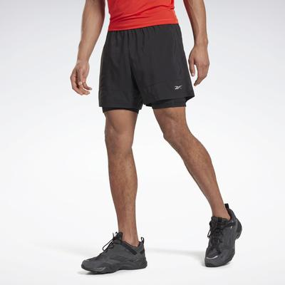 Reebok Men's Running Essentials Two-in-One Shorts in Black Size S - Running Apparel