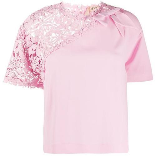 N°21 T-Shirt mit gehäkeltem Einsatz