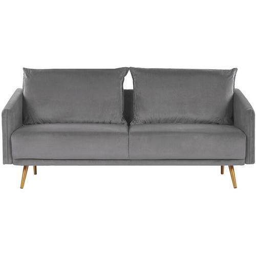 Sofa Grau Samtstoff 3-Sitzer 185 x 78 x 68 abnehmbare Kissenbezüge Minimalistisch Retro Wohnzimmer