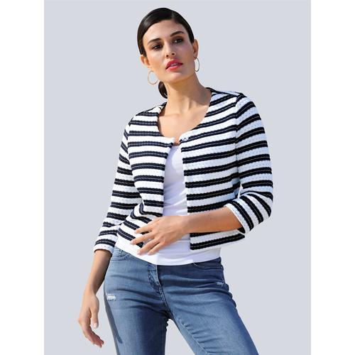 Alba Moda, Shirtjacke aus gewirkter Qualität mit Struktur, blau
