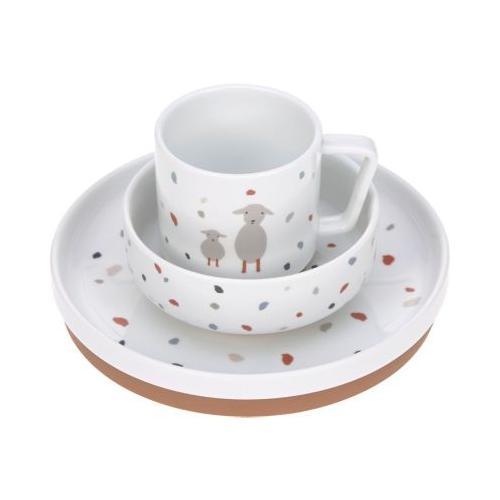 Geschirrset Porzellan/Silikon Tiny Farmer mehrfarbig