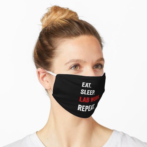 Essen Sie Schlaflaborarbeit Wiederholen Sie Labortechniker lustig Maske