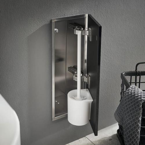 Emco Asis Pure Unterputz-Toilettenbürstengarnitur-Modul B: 170 H: 435 T: 148,5 mm, Anschlag rechts schwarz matt 975551405