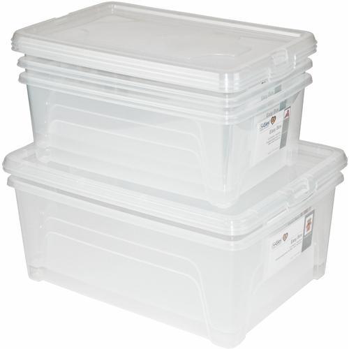 Gies Aufbewahrungsbox Easy, (Set, 5 St., 3 Easy Boxen ca. l, 2 10 l), mit Einsteckkarten farblos Kleideraufbewahrung Aufbewahrung Ordnung Wohnaccessoires