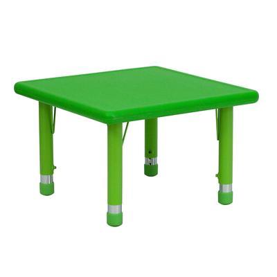 "Flash Furniture YU-YCX-002-2-SQR-TBL-GREEN-GG 24"" Square Preschool Activity Table - Plastic Top, Green"