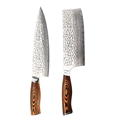 Damast Hammerschlag Messer DUO 67 Lagen VG 10 Edelstahl extrem scharf Kochmesser und Metzgermesser im Set