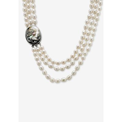 """Plus Size Women's Silver Tone Multi Strand Cameo Necklace Cultured Freshwater Pearl 28"""" by PalmBeach Jewelry in Pearl"""