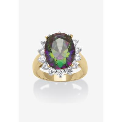 Plus Size Women's Gold-Plated Cubic Zirconia Cocktail Ring by PalmBeach Jewelry in Gold (Size 9)