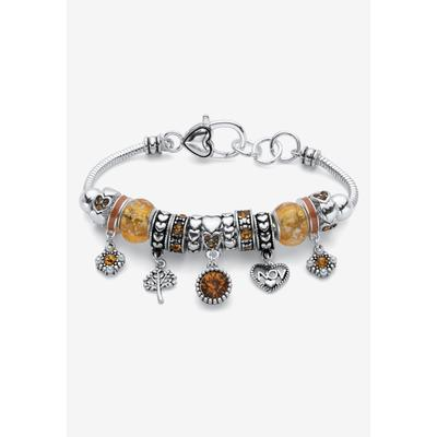 """Plus Size Women's Silver-Plated Simulated Birthstone 8"""" Charm Bracelet by PalmBeach Jewelry in November"""