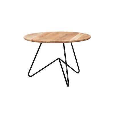 WOHNLING Couchtisch Massivholz 60x39,5x60cm Wohnzimmertisch Sofatisch Rund Tisch