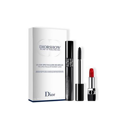 DIOR Lippen Lippenstifte Geschenkset Diorshow Pump 'N' Volume HD Mascara Nr. 090 Black Pump 6 g + Rouge Dior Lippenstift Nr. 999 1,5 g 1 Stk.