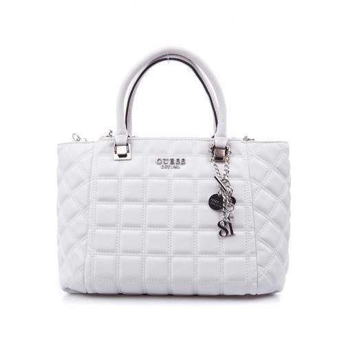 Guess Damen Handtasche Kamina aus gestepptem Kunstleder Weiß