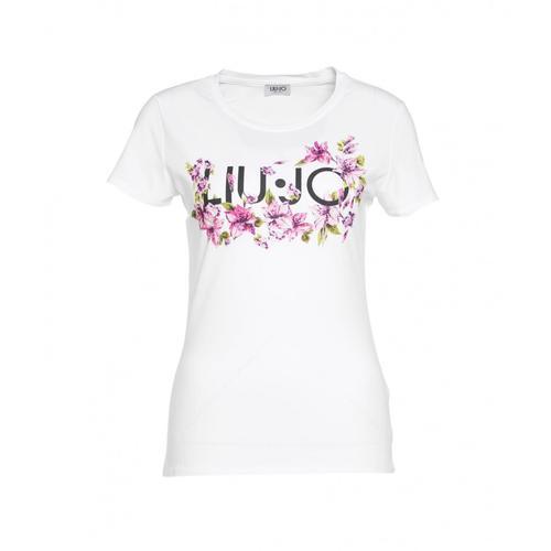 Liu Jo Damen T-Shirt mit Logodruck und Applikationen Weiß