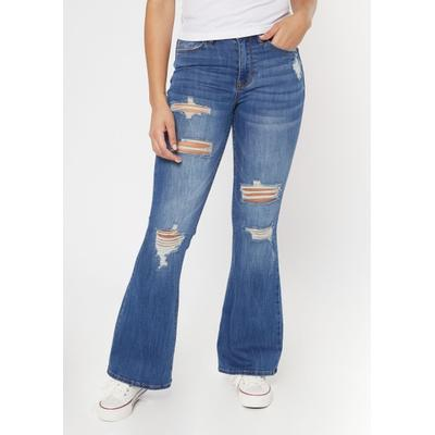 Rue21 Womens Medium Wash High Waisted Ripped Flare Jeans - Size 1