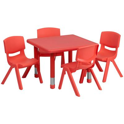 """Flash Furniture YU-YCX-0023-2-SQR-TBL-RED-E-GG 24"""" Square Preschool Activity Table & (4) Chair Set - Plastic Top, Red"""