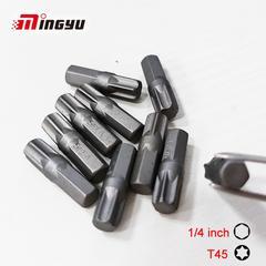 Jeu d'embouts de tournevis Torx T45 à tige de 1/4 de pouce, Kit d'embouts de tournevis Torx de 25MM