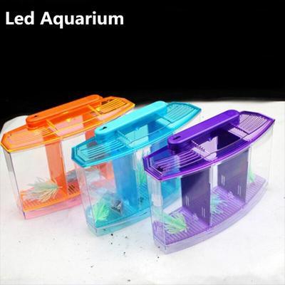 Aquarium en acrylique trois séparations Betta pour poissons, boîte d'isolation à Triple nœud, bleu