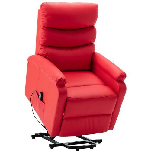 Sessel mit Aufstehhilfe Kunstleder Rot