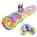 Tunnel pliable pour chat, 2 trou...