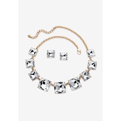 Women's Gold Tone Necklace and Earring Set, Princess Cut Simulated Birthstones by PalmBeach Jewelry in April