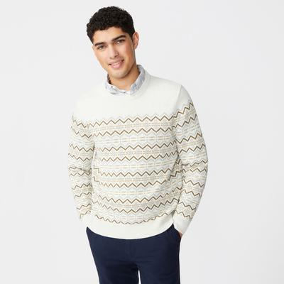Nautica Men's Fair Isle Crewneck Sweater Wheat Flax, S