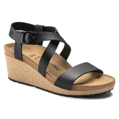 BIRKENSTOCK Papillio Sibyl Ring-Buckle Natural Leather Black With A Heel