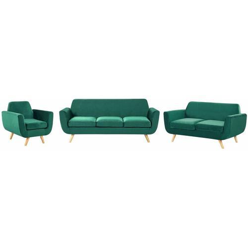 Beliani - Sofa Set Grün Samtstoffbezug 3-Sitzer 2-Sitzer und Sessel Retro Stil mit Holzbeinen