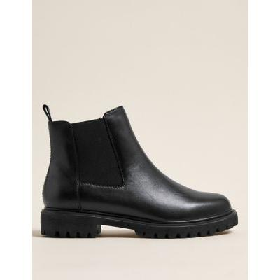 Marks & Spencer Wide Fit Leather Chelsea Ankle Boots - Black - 3.5