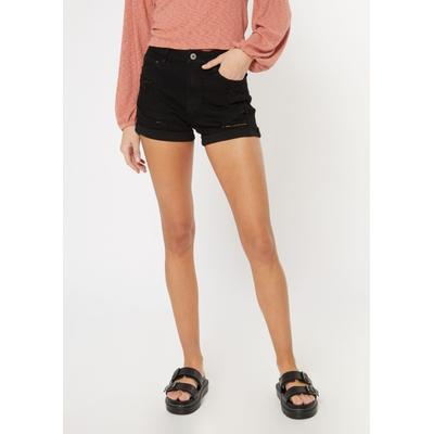 Rue21 Womens Black Ripped Ultimate Stretch Curvy Jean Shorts - Size 4
