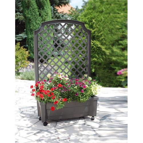 KHW Spalier, mit Pflanzkasten, BxTxH: 79x35x134 cm grau Spaliere Gartendekoration Gartenmöbel Gartendeko Spalier