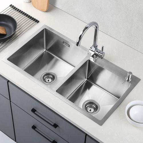 Küchenspüle 2 Schalen 80*45CM Spülbecken 2 Becken Waschbecken Unterbauwaschbecken Edelstahl 304