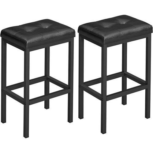 VASAGLE Barhocker, 2er Set, Barstühle, 40 x 30 x 62 cm, rückenfrei, PU-Bezug, einfache Montage,