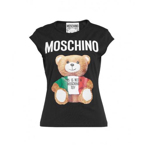 Moschino Damen T-Shirt mit Teddy-Print Schwarz