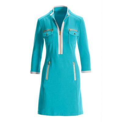 Boston Proper - Three-Quarter Sleeve Chic Zip Dress - Blue/white - Small